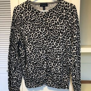Black and Gray Leopard Print Cardigan
